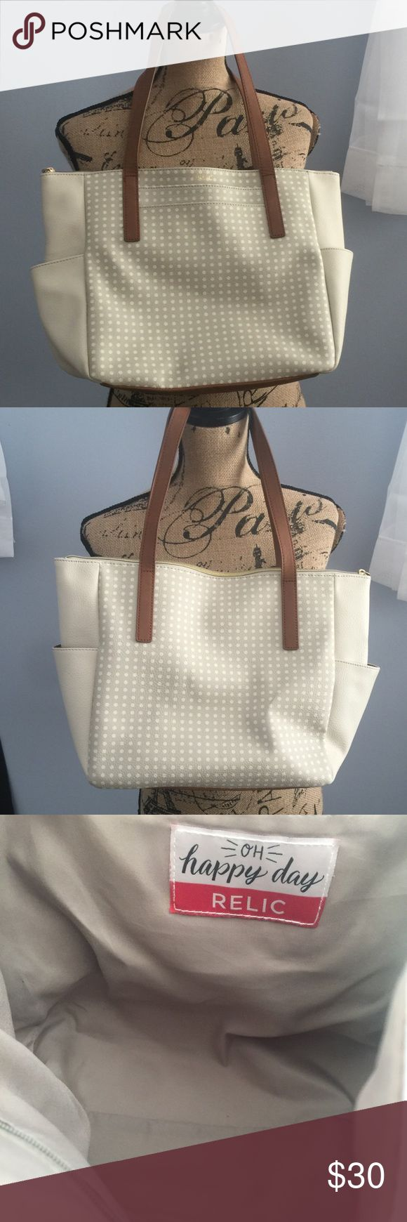 Relic beige and grey shoulder bag. Relic beige and grey leather shoulder bag. Very nice and lots of room, In perfect condition. Relic Bags Shoulder Bags
