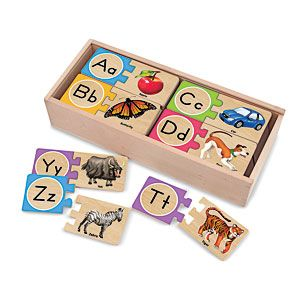Wooden Puzzle Cards (Letters) - Help kids to learn about the alphabet while having fun! Uniquely designed self-correcting puzzle prevents incorrect matches and guides children to correctly identify letters, their sounds, and their application in words. $14.98 CAD