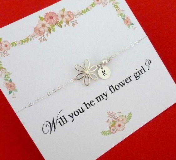 Personalized Flower Girl Bracelet, Flower Bracelet, Flower Girl Gifts, Flower Girl Jewelry, Be my Flower Girl, Invite Flower Girl, Initials by GlittersGiftShop on Etsy https://www.etsy.com/uk/listing/261831930/personalized-flower-girl-bracelet-flower