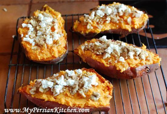 Twice Baked Yams with Feta & Walnut | Foods 2 Love: Vegan & Veggies ...