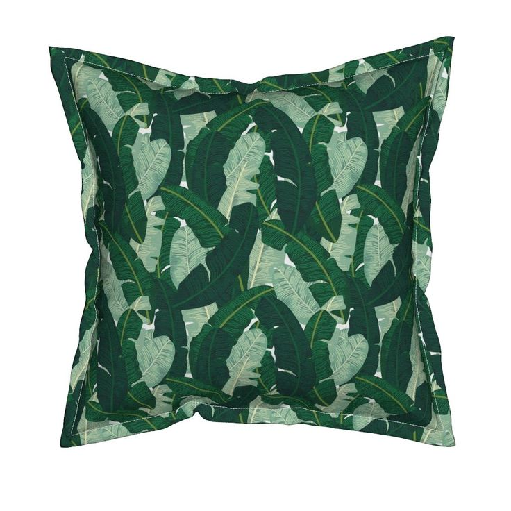 Lovely Serama Throw Pillow featuring Classic Banana Leaves in Palm Springs Green by elliottdesignfactory Roostery Home