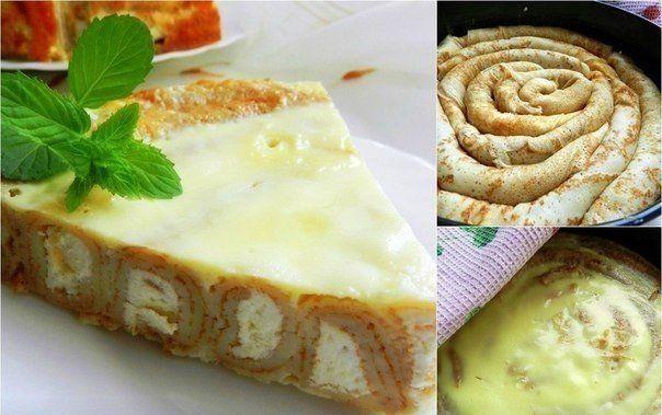 Pancake cake with Cottage cheese. Recipe: http://wonderdump.com/pancake-cake/
