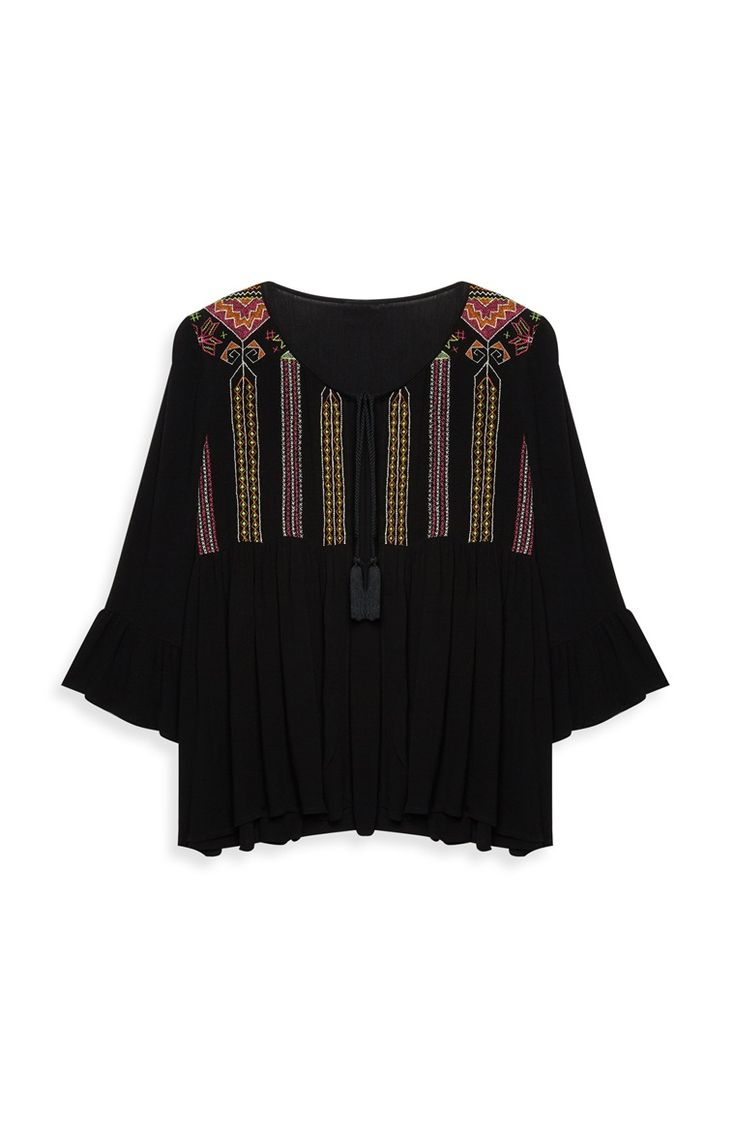 Primark - Zwarte blouse met borduursel