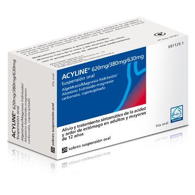 ACYLINE, de los LABORATORIOS ARAFARMA S.A., son sobres de ALGIDRATO DE MAGNESIO (620mg), HIDRÓXIDO DE ALUMINIO (380mg) y MAGNESIO CARBONATADO (630mg) indicado el alivio sintomático del ARDOR DE ESTOMAGO Y LA ACIDEZ. En adultos, no administrar MAS DE 4 SOBRES AL DIA