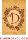D - Vine / Berries Monogram Garden Flag