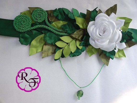 Greenery Babyshower Maternity Sash Green Leaves And White Flowers Belly Belt Leaves Belly Sas Baby Shower Sash Baby Shower Sash Boy Modern Baby Shower Boy