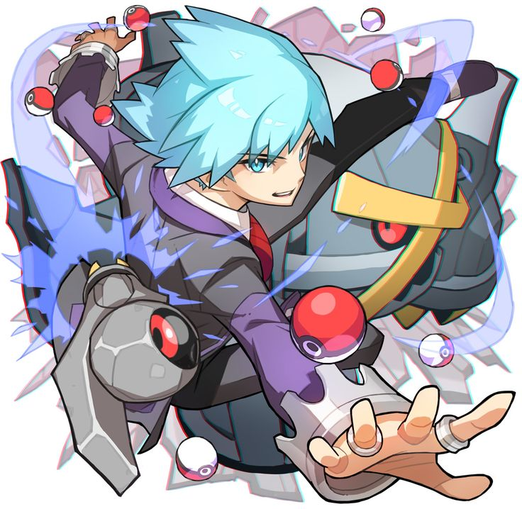 1boy alternate_color beldum blue_eyes blue_hair jewelry metagross one-eyed open_mouth outstretched_arm outstretched_hand poke_ball pokemon pokemon_(game) pokemon_oras red_eyes ring saitou_naoki shiny_pokemon solo tsuwabuki_daigo