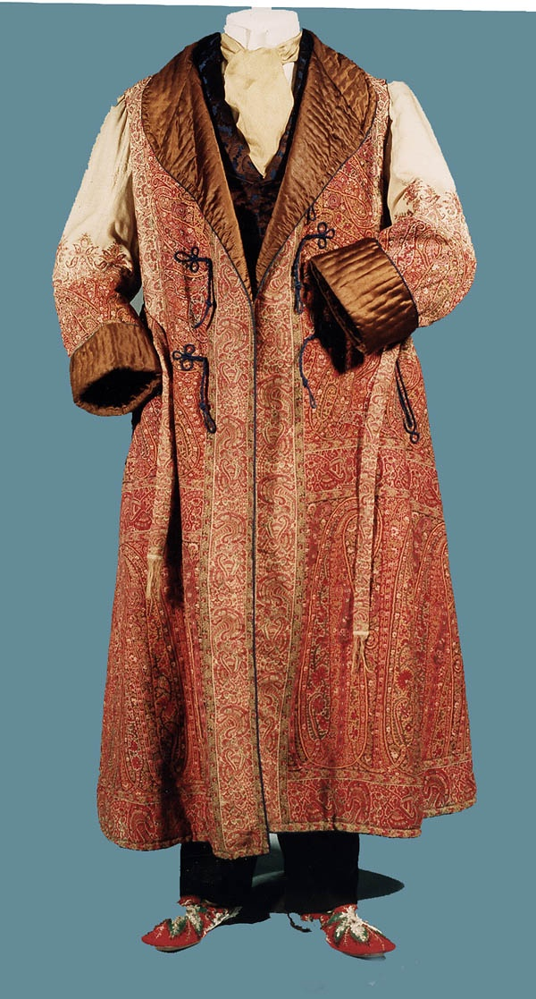 Gentlemen's Paisley Wool Dressing Gown. English, c. 1875.  I see Ebenezer Scrooge wearing this as he meets his first spirit.