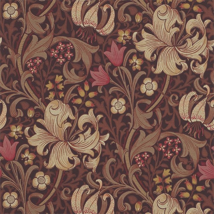The Original Morris & Co - Arts and crafts, fabrics and wallpaper designs by William Morris & Company | Products | British/UK Fabrics and Wallpapers | Golden Lily (DM6P210402) | Morris Archive Wallpapers