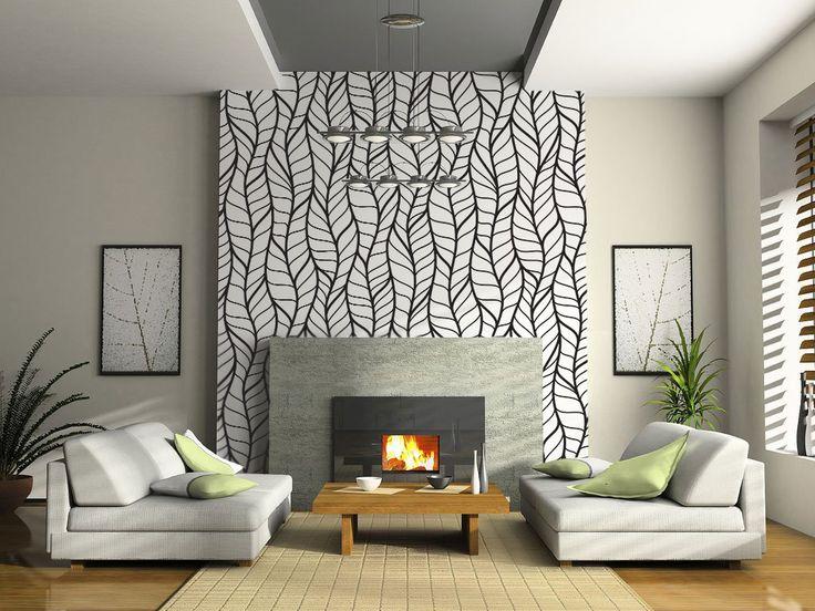 Papel mural moderno blanco y negro sobre chimenea living for Papel mural living comedor