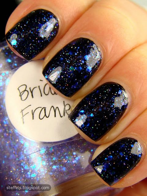 Bride of Franken. I like the black under the blue glitters. It looks like a starry night.
