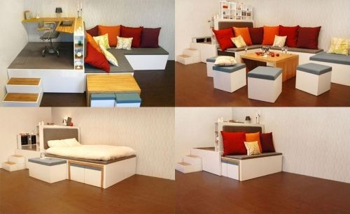 Transforming furniture.Compact Living, Transformers Furniture, Corner Couch, House Ideas, Small House, Small Spaces, Double Beds, Dinner Tables, Spaces Savers