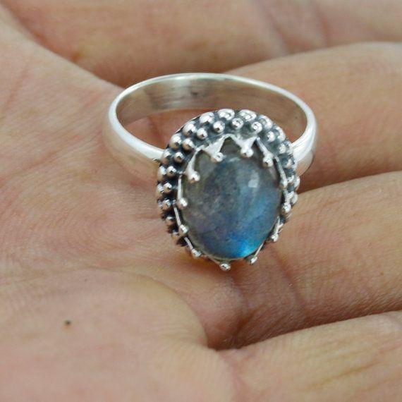 Natuurlijke labradoriet Ring, stenen ring, zilver labradoriet Ring, Cabochon ring, partij dragen ring, blauwe labradoriet sieraden, Designer Ring