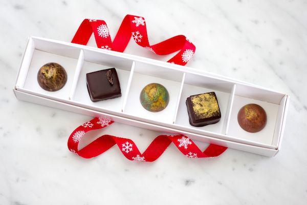 Christmas Selection 2016 | Chocolate Chilli Mango L to R:  Chestnut Rum Praline, Tumaco 65% ganache, Pine Lime Splice Caramel, Hazelnut Almond Praline, Eggnog  #chocolate #Christmas #ChocolateChilliMango #Valrhona #bonbons