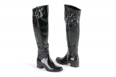 Le Pepe black patent leather boots with buckle