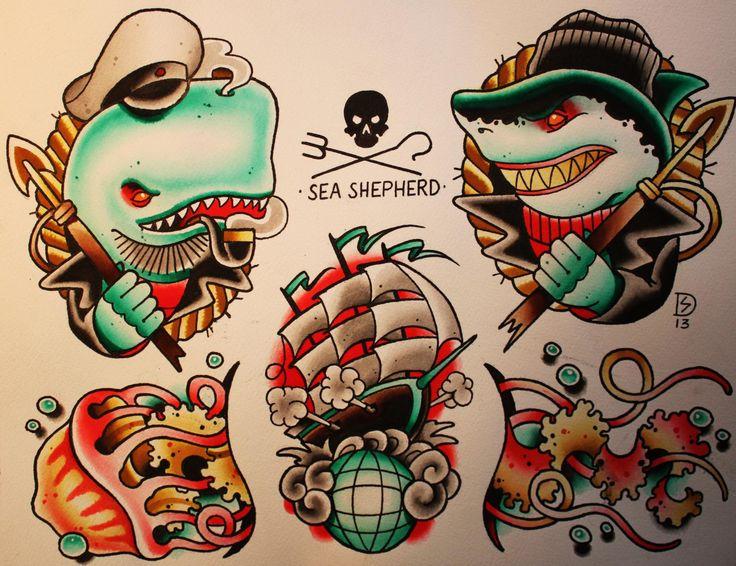 Sebastian domaschke sea shepherd tattoo flash