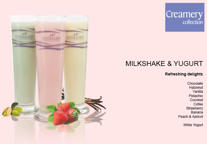 Milkshake Yogurt Remaining stock Specialoffer NaturalMix Milkshake ΦΡΑΟΥΛΑ | Τιμή πώλησης (Συμπεριλαμβανομένου Φπα):  Specialprice    €.  15,--    Reg.Price  €  29,27   Frappè & Yogurt in 10 delicious flavors - 1 Pack. - 30 pieces of 25 gr. Elegant and fine advertising material for free  NaturalMix presents a new line of Milkshakes and Yogurt without hydrogenated fats and without artificial colours. They're prepared with fresh milk and they're destined to selected bars and cafè.