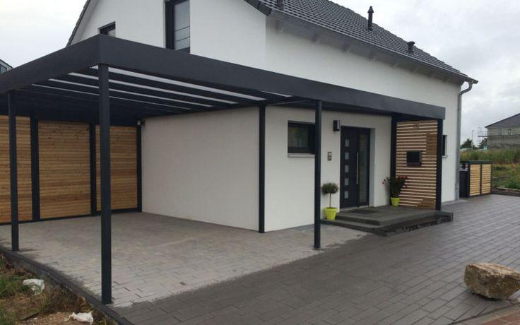Carport Stahl mit Glasdach und integriertem Zaun