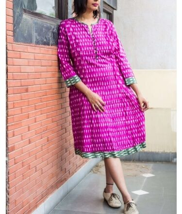 Pink-Green Pintuck Detailed Ikat Cotton Dress with Side Pockets