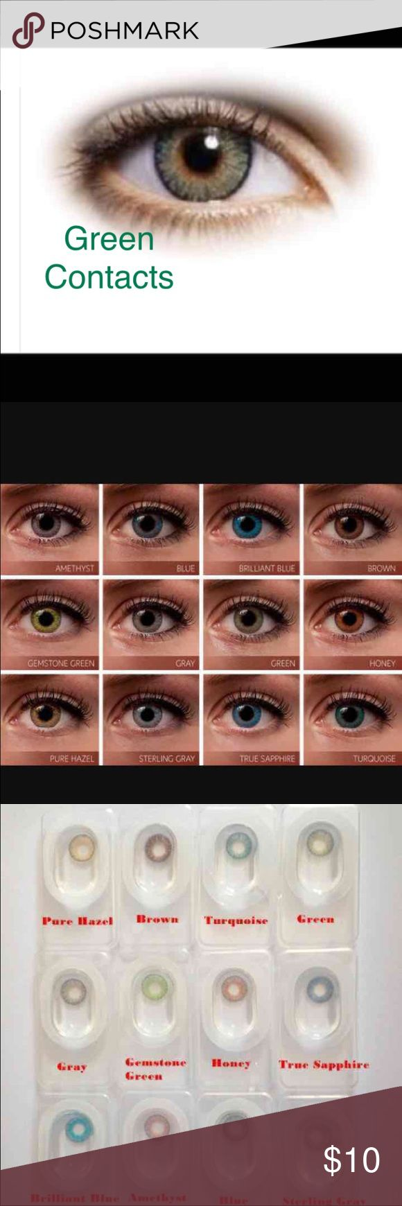 """1 Pair Green Colored Contacts Available Colors All Colors  Please message me what color you would like  One Pair New Reusable Non prescription Bundle and save...  2 pair =$18  3Pair = $27  """"FreshLook Colorblends contact lenses offer a wide palette of beautiful colors to enhance your eye color in a natural way.  Condition: Brand new Brand: FreshLook Colorblends Expiration: 2020 Diameter: 14.5 Price per box: 1 box = 1 pair Shipping: Same day or Next day   Nike, Victoria Secret   Tags: High…"""