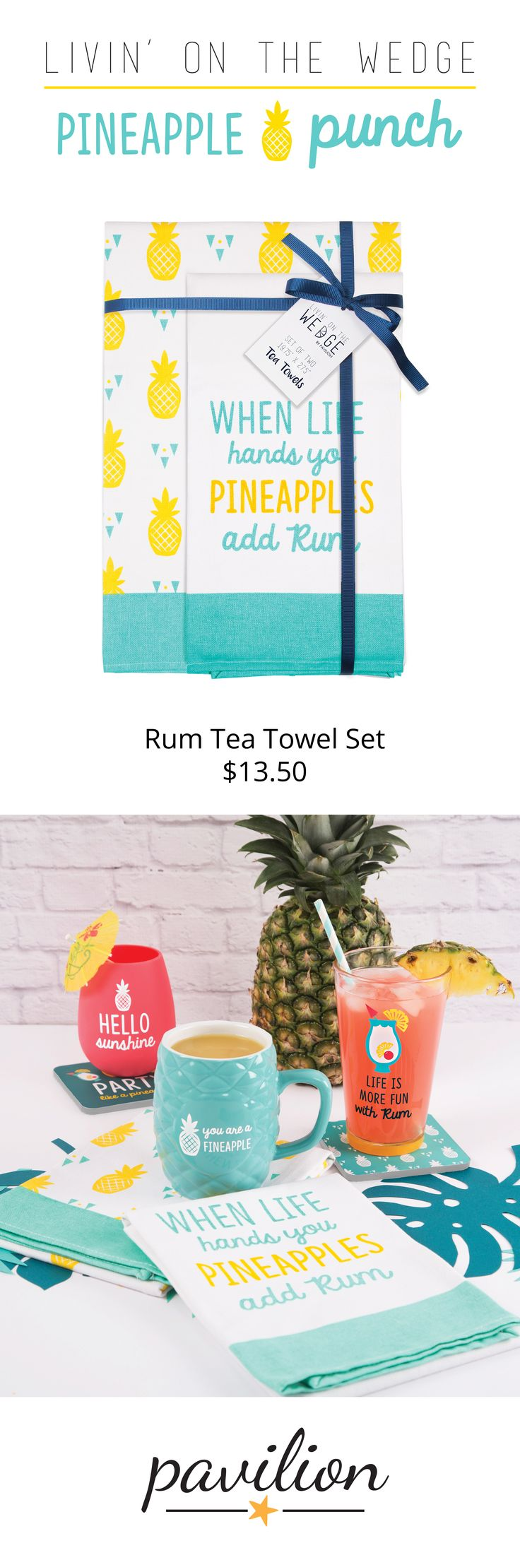 Livin' on the Wedge by Pavilion - Pineapple Punch Collection - When Life Hands You Pineapples Add Rum Teal & Yellow Summer Tea Towel Set Bar Decor