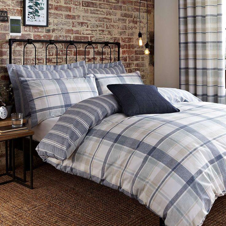 Harrison Blue Duvet Cover and Pillowcase Set | Dunelm