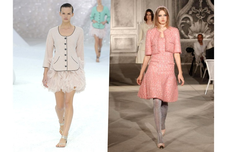 Due look di Chanel: a sinistra la Ready to wear per la P/E 2012 e a destra l'Haute Couture A/I 2013