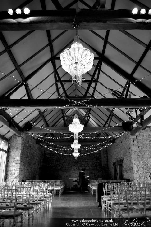 Crossed strands of fairy lights at Notley Abbey refectory