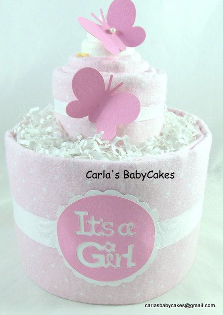 Girl diaper cake | Baby diaper cake | Diaper cupcake | Baby shower gift | Baby sprinkle decoration | New mom gift | Unique baby gift by MsCarlasBabyCakes on Etsy