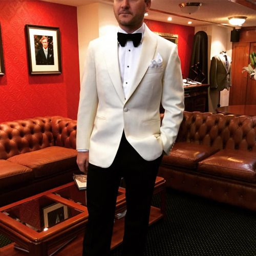 zinkandsons:  EB in his beautiful wedding attire. Jacket is a cream barathea by @dugdalebrosandco trouser is a black barathea by the same mob. Black velvet bow tie by @zinkandsons #bespoke #wedding #suit #zinkandsons #sydneytailor #tailorsydney #weddingsu
