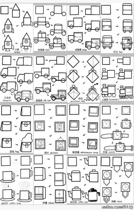 Apprendre à dessiner : voiture, camion, fusée, objets etc.