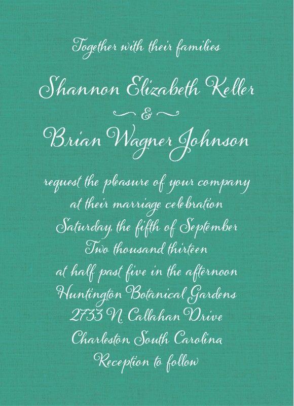 Calligraphy chic wedding invite