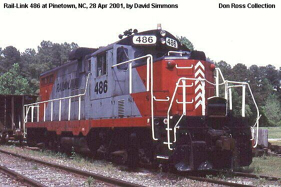 Carolina Coastal RR 486, GP9, was built by Electro-Motive in February 1955, #20165, FN 5378-19, as Illinois Central 9086. It was sold as Cedar Valley RR 9086 in September 1984 and sold as Rail-Link 486. It was sold as CLNA 486 in 2003.