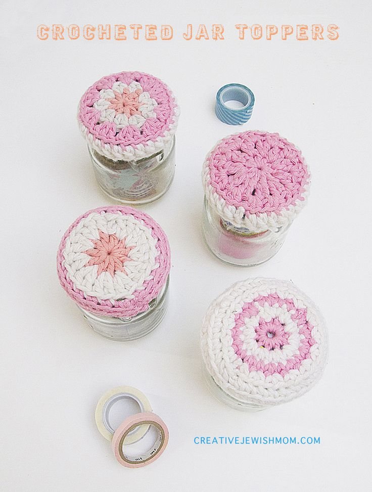 How to crochet simple jar lid covers