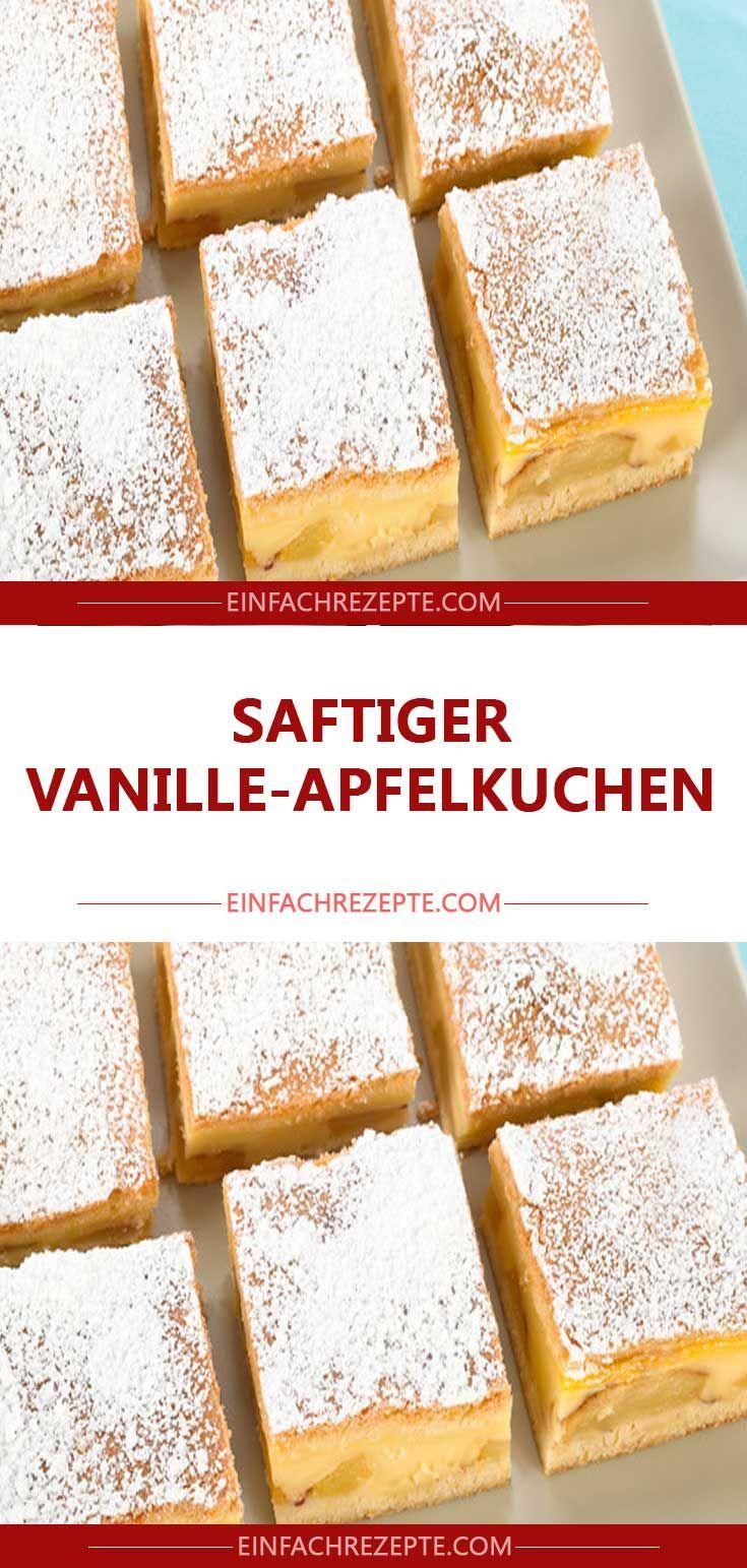 Saftiger Vanilleapfelkuchen 😍 😍 😍   – Backrezepte