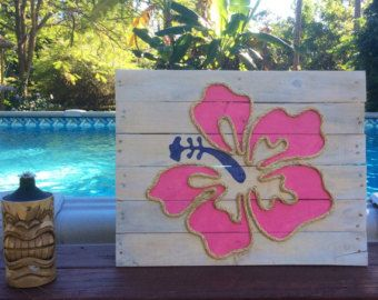 This beachy piece of art is made from reclaimed pallet wood and is perfect for a nautical inspired beach house! Each sign is hand cut, hand sanded and hand painted. Each sign is made to order so no two will be exactly alike due to variations in the wood. All signs have cable on the back for easy hanging. Dimensions are approximately 18 x 16 inches.