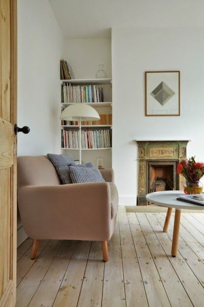 Lamp, table, blush pink, scandinavian restraint and lime washed floors.