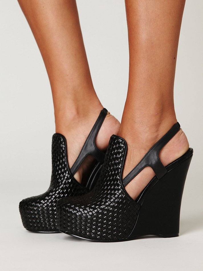 Black Slingback Platform Shoes