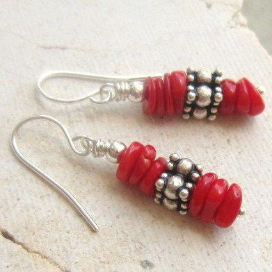 Red Coral Earrings. Bali Sterling Silver Earrings. Semi