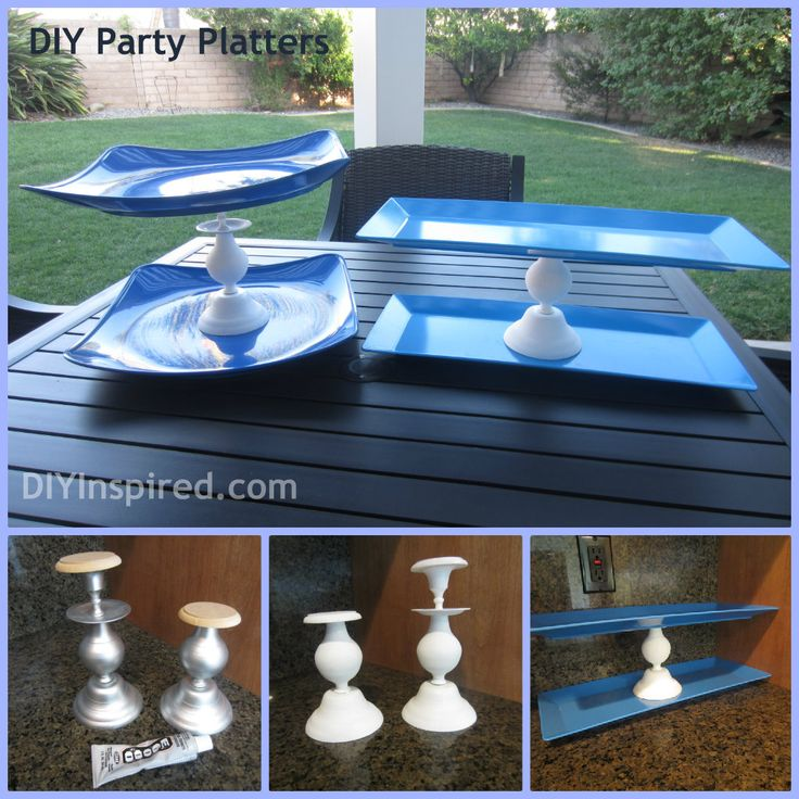 DIY Cupcake stands and party platters.  Save money and make your own!Diy Ideas, Party Platters, Cupcake Stands, Saving Money, Diy Cupcake Stand, Diy Cupcakes Stands, Parties Platters, Cupcakes Rosa-Choqu, Diy Rectangle Cake Stands