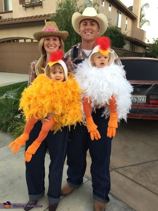 Chelsea: My husband Tyler and I dressed up as farmers and dressed our 16 month old twins, Harper and Hudson, as baby chickens! I made these costumes myself. I wasn't sure...
