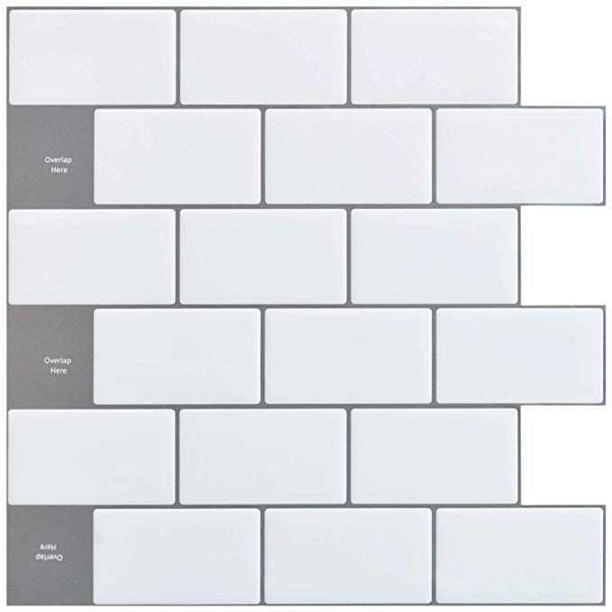 Amazon Com Art3d 12 X12 Peel And Stick Backsplash Tile Sticker For Kitchen White 10 Sh Stick Tile Backsplash Peel Stick Backsplash Peel N Stick Backsplash