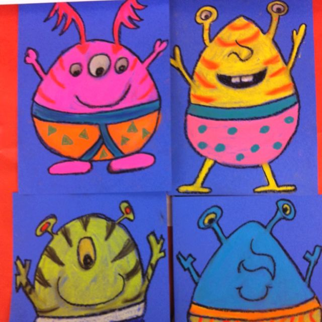 """Art project based on the book """"Aliens Love Underpants"""" using black oil pastel and colored chalk pastels."""
