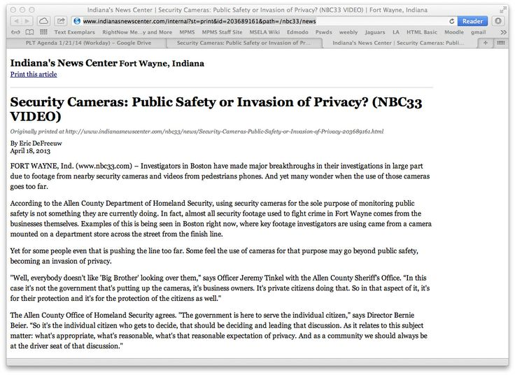 Are law enforcement cameras an invasion of privacy essay