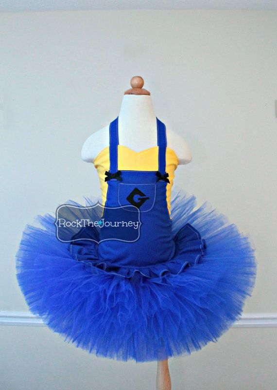 Blue or Pink Minion Girl Halloween Costume -  Minion Birthday Party Outfit - Minion Tutu Dress - Pageant (faux shirt)