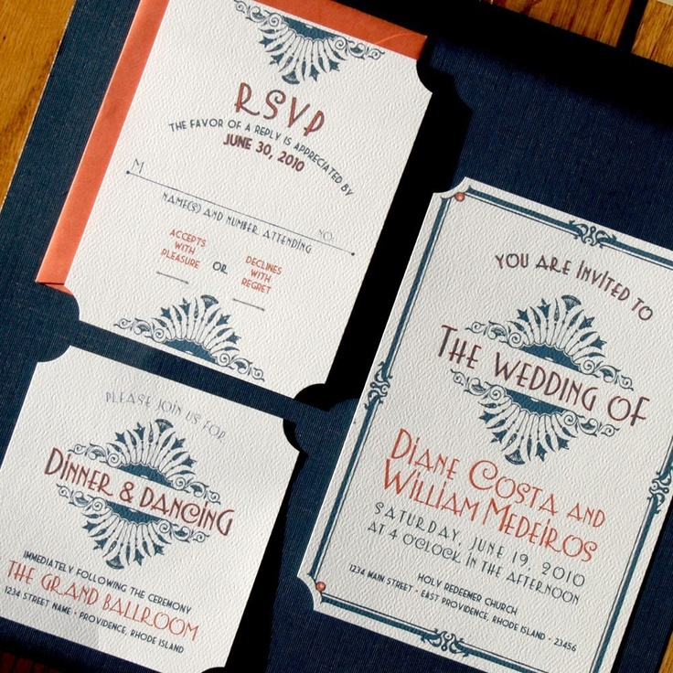 wedding invitations east london south africa%0A Art Deco invitation  don u    t like the texture of the paper