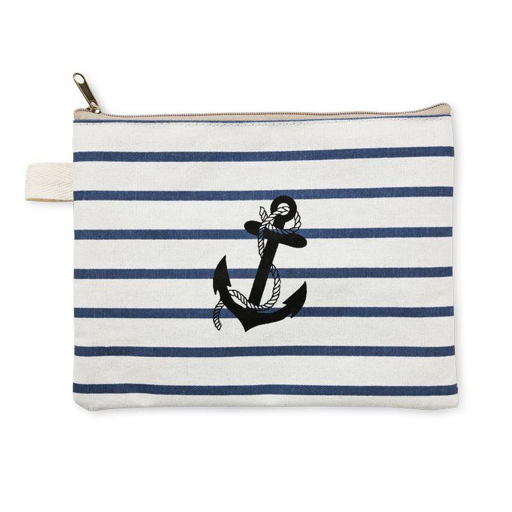 Kosmetyczka z kotwicą #paski #stripes #marynarskistyl #kotwica #anchor