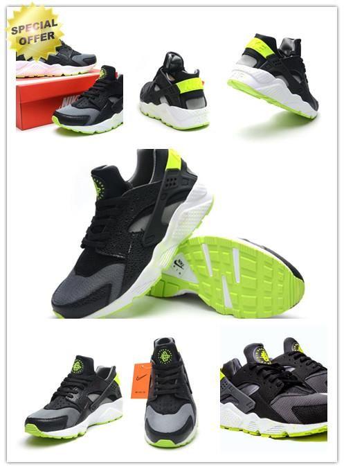 Discount Shoes Online Mens Nike Air Huarache 318429-030 Black/ fluorescent green