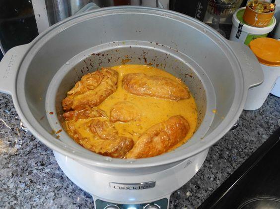 Kyckling äpple-curry i Crock-Pot, Crock-Pot, långlagad kyckling i Crock-Pot, recept kyckling med mild currysås, recept kyckling med currysås i Crock-Pot