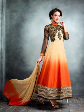 Cream Georgette Anarkali Suit with Embroidery Work